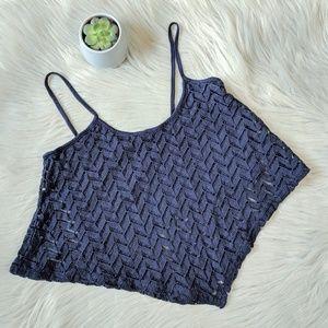 EUC Bershka Navy Blue Lace Crop Top Medium
